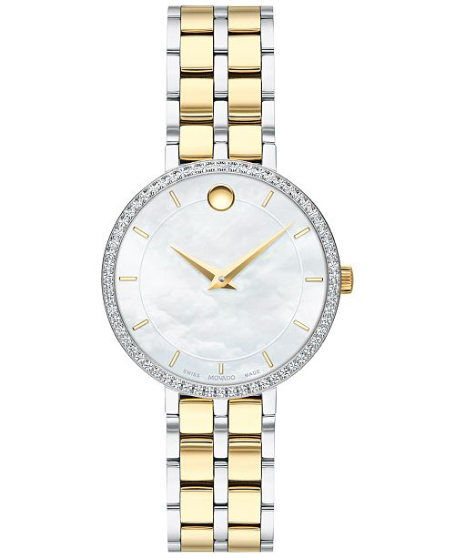 Movado Women's Swiss Kora Diamond (1/4 ct. t.w.) Two-Tone PVD Stainless Steel Bracelet Watch 28mm