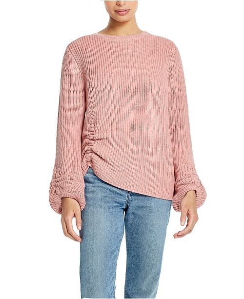 Weatherproof Vintage Balloon-Sleeve Ruched Sweater