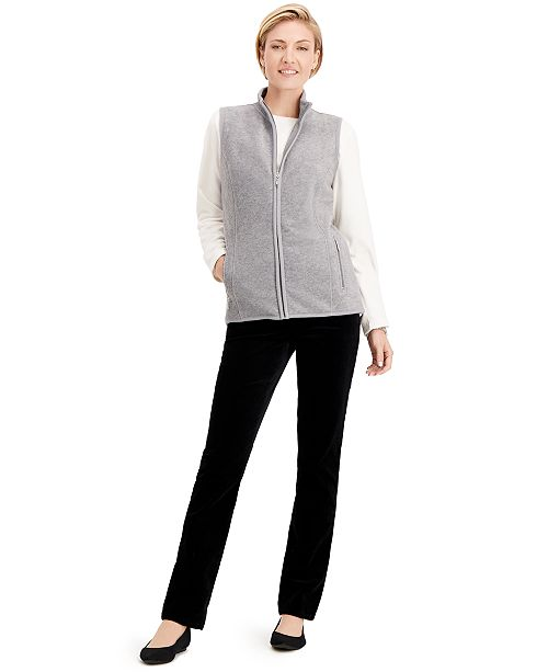 Karen Scott Zeroproof Fleece Zip-Up Vest & Sweatshirt