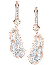 Rose Gold-Tone Crystal Feather Convertible Hoop Earrings