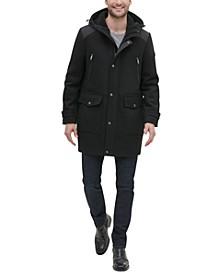 Men's Mixed Media Hooded Coat