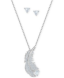 "Silver-Tone Crystal Feather Pendant Necklace & Triangle Stud Earrings Set, 14"" + 2"" extender"