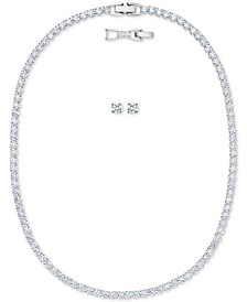"Silver-Tone Crystal Collar Necklace & Stud Earrings Set, 14""+ 1"" extender"