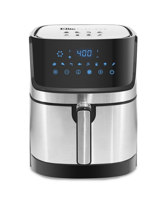 Elite Platinum 5-Qt. Stainless Steel Digital Hot Air Fryer with Adjustable Timer and Temperature for Oil-free Cooking