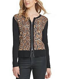 DKNY Zip-Up Cardigan Sweater