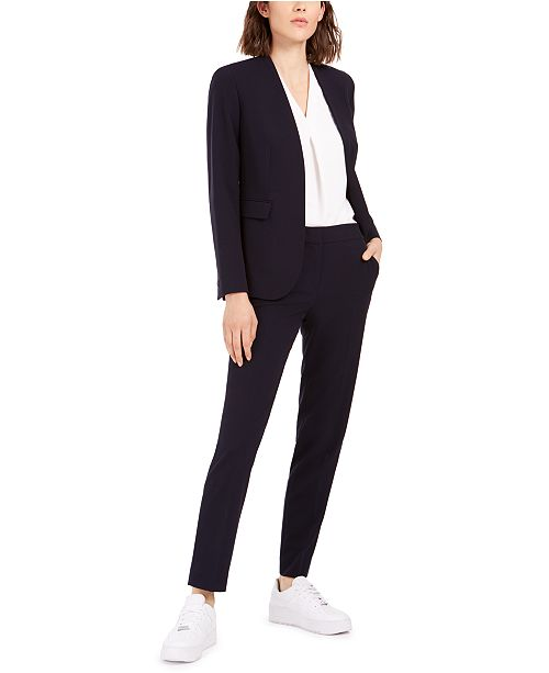 Bar III Collarless Blazer, Inverted-Pleat Top & Straight-Leg Pants, Created for Macy's