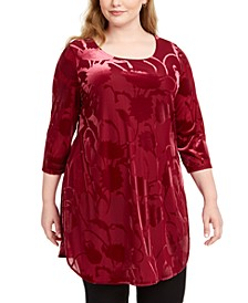 Plus Size Velvet Burnout Tunic Top, Created For Macy's