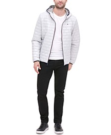Men's Brick Quilted Hooded Packable Jacket