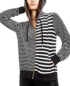 Velour Mixed-Stripe Zip-Up Hoodie