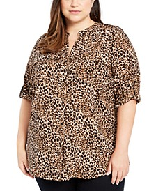 Plus Size Button-Up Roll-Sleeve Top