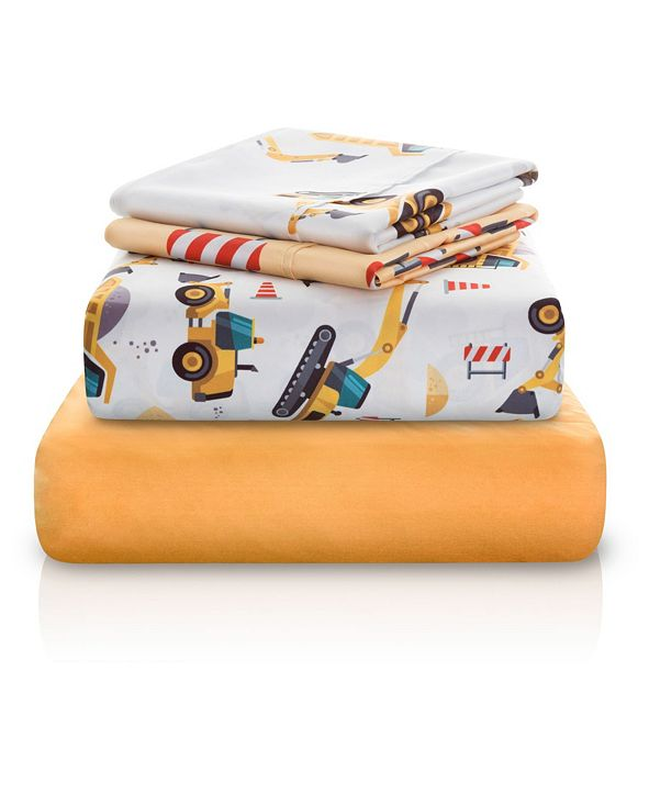 Chital Construction Tractor Print Double-Brushed Microfiber 4 Piece Twin Sheet Set