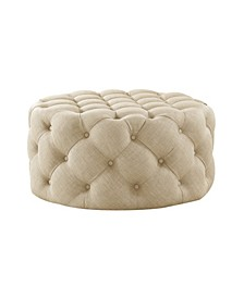 Bella Upholstered Tufted Allover Round Cocktail Ottoman
