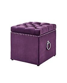 Ella Upholstered Storage Cube Ottoman with Nailhead Trim