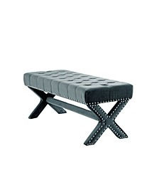 Louis Tufted Nailhead Bench with X-Legs