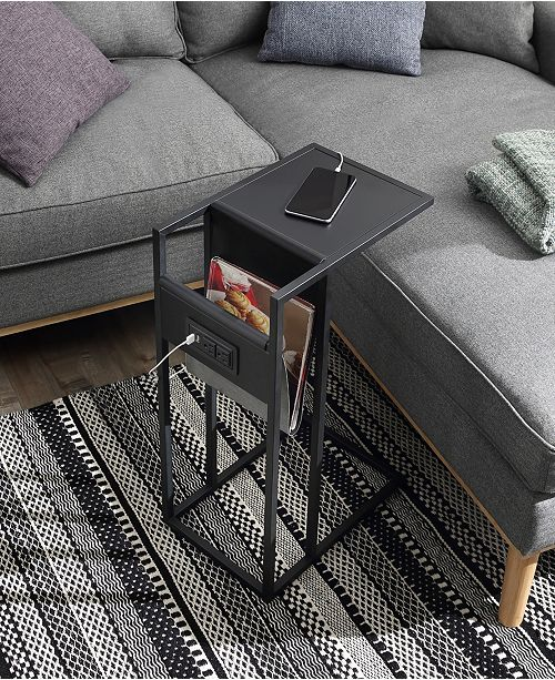 Kalina End C Table With Usb Charging Ports And Outlets