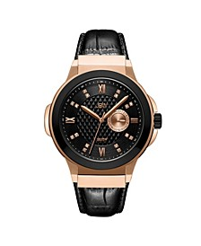 Men's Saxon Diamond (1/6 ct. t.w.) Watch in 18k Two Tone Rose Gold-plated Black Stainless Steel Watch 48mm