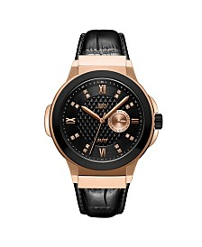JBW Men's Saxon Diamond (1/6 ct. t.w.) Watch in 18k Two Tone Rose Gold-plated Black Stainless Steel Watch 48mm