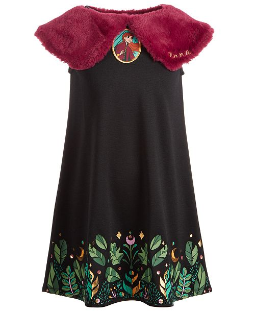 Evy of California Disney® Little Girls Frozen 2-Pc. Detachable Faux-Fur Shawl & Anna Dress
