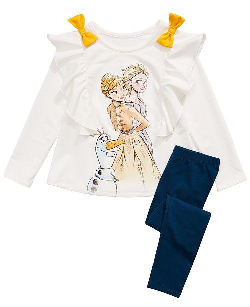 Evy of California Disney® Toddler Girls Frozen 2-Pc. Sister Love Ruffled Top & Leggings Set
