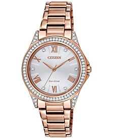 Drive From Eco-Drive Women's Rose Gold-Tone Stainless Steel Bracelet Watch 34mm