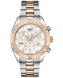Tissot Women's Swiss Chronograph T-Classic PR 100 Diamond (1/20 ct. t.w.) Two-Tone PVD Stainless Steel Bracelet Watch 38mm
