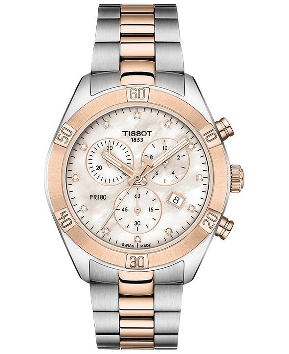 Tissot Women's Swiss Chronograph T-Classic PR 100 Diamond (1/20 ct. t.w.) Two-Tone PVD Stainless Steel Bracelet Watch 38mm