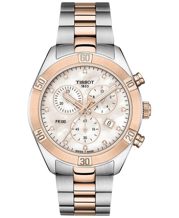 Tissot - Women's Swiss Chronograph T-Classic PR 100 Diamond (1/20 ct. t.w.) Two-Tone PVD Stainless Steel Bracelet Watch 38mm