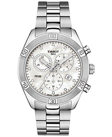Women's Swiss Chronograph T-Classic PR 100 Diamond (1/20 ct. t.w.) Gray Stainless Steel Bracelet Watch 38mm