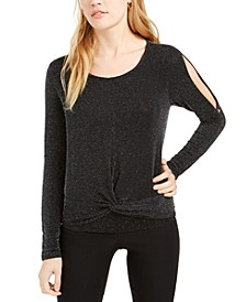 Juniors' Metallic Open-Sleeve Twist-Front Top