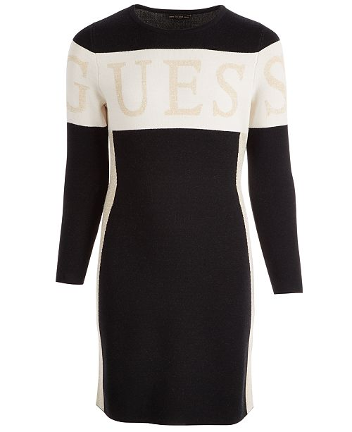 GUESS Big Girls Colorblocked Logo Sweater Dress