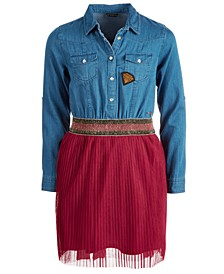 Big Girls Denim Mesh Pleated Dress
