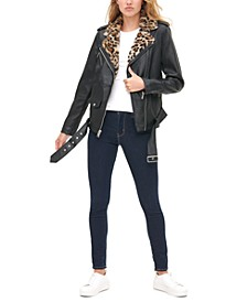 Women's Faux-Leather Biker Jacket