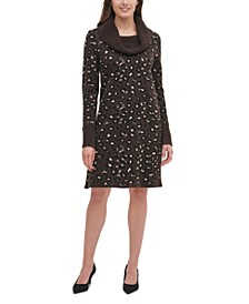 Cowlneck Leopard-Print Sweater Dress