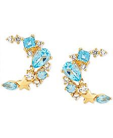 Swiss Blue Topaz (1-5/8 ct. t.w.) & White Topaz (1/4 ct. t.w.) Crescent Moon Stud Earrings in 14k Gold