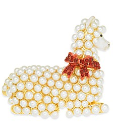 Gold-Tone Pavé & Imitation Pearl Llama Pin, Created for Macy's