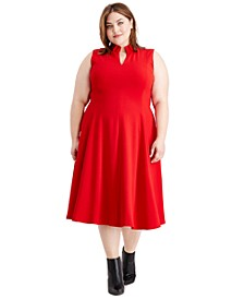Plus Size Ruffled-Collar Dress