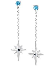 Blue Topaz Star Chain Drop Earrings (1/2 ct. t.w.) in 14k White Gold