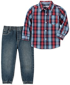Little Boys 2-Pc. Red/Blue Plaid Woven Shirt & Denim Jogger Pants Set