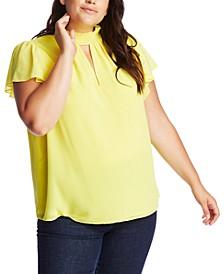 Plus Size Smocked Flutter-Sleeve Top