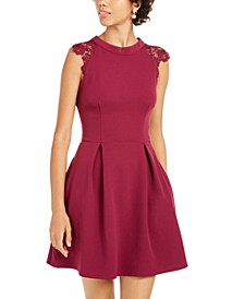 Juniors' Lace-Contrast Fit & Flare Dress