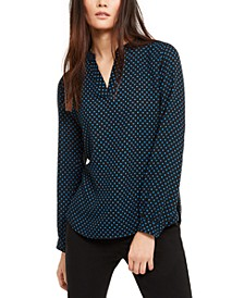 Dot-Print Split-Neck Top