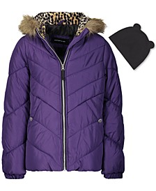 Big Girls Hooded Puffer Jacket With Faux-Fur Trim & Hat