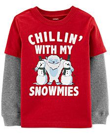 Carter's Toddler Boys Snowmies-Print Layered-Look Cotton T-Shirt