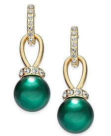 Imitation Pearl and Pavé Drop Earrings, Created for Macy's