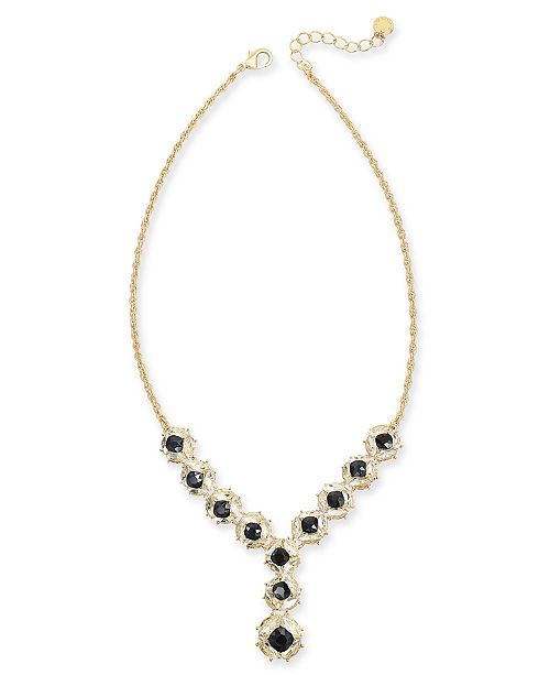 """Charter Club Crystal & Stone Cluster Lariat Necklace, 17"""" + 3"""" extender, Created For Macy's"""