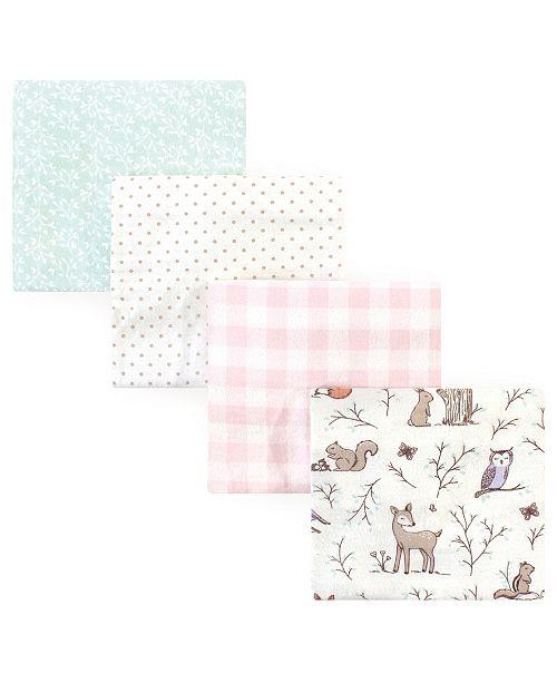 Hudson Baby Flannel Receiving Blanket, 4 Pack