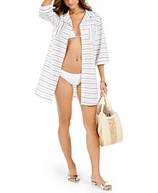 Radiance Striped Shirtdress Cover-Up