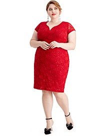 Plus Size Metallic Sheath Dress