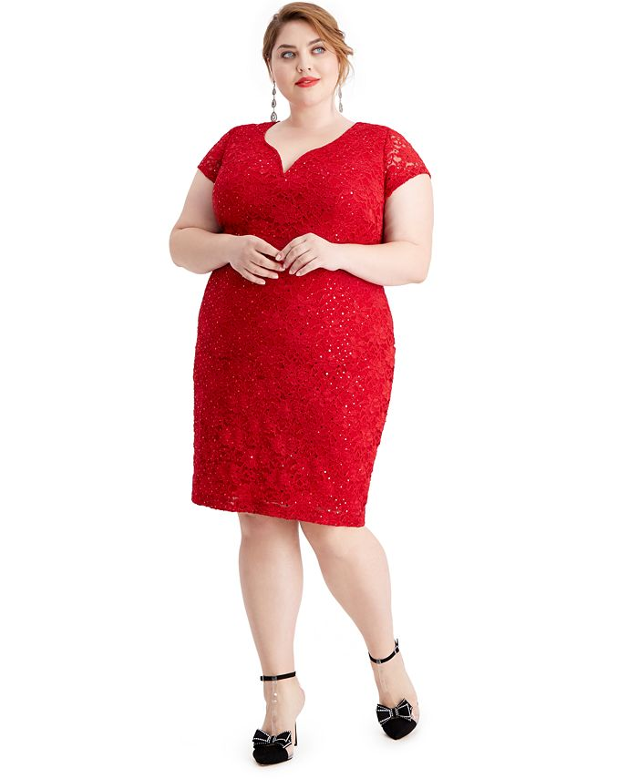 Connected - Plus Size Metallic Fit & Flare Dress