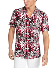 INC Men's Paint Splatter Camp Shirt, Created for Macy's